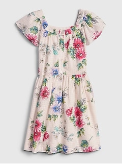 Kids Floral Squareneck Dress