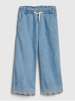 Kids Eyelet Chambray Wide-Leg Crop Pants