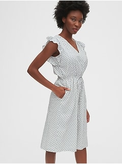Ruffle Sleeve Midi Dress