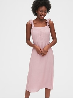 Tie-Shoulder Midi Apron Dress