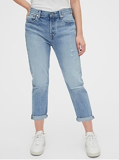 Mid Rise Destructed Boyfriend Jeans