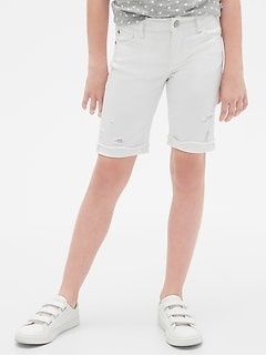 Kids Destructed Bermuda Shorts in Stain-Resistant