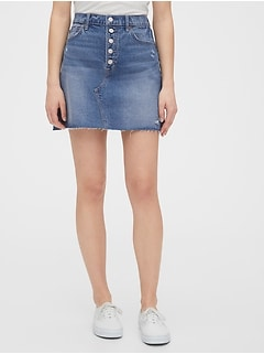 High Rise Distressed Denim Skirt