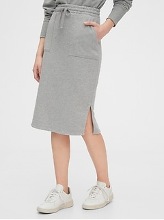 Fitted Midi Skirt in French Terry
