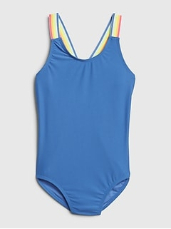 Kids Rainbow Strappy Swim One-Piece