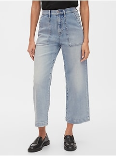 High Rise Utility Wide-Leg Crop Jeans