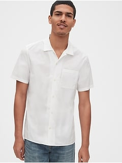 Button-Front Shirt in Poplin