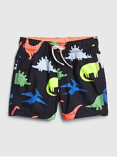 Baby Dino Print Swim Trunks