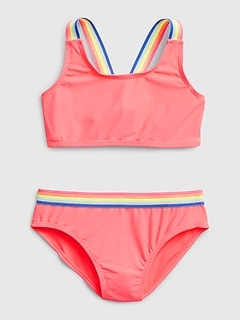 Kids Rainbow Strap Swim Two-Piece