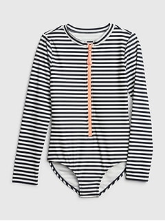 Kids Stripe Zip Rash Guard One-Piece