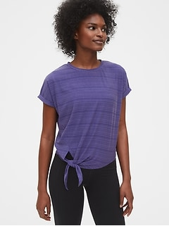 GapFit Ribbed Dolman Tie-Front T-Shirt