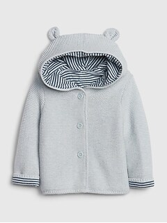 Baby Brannan Bear Stripe-Lined Sweater