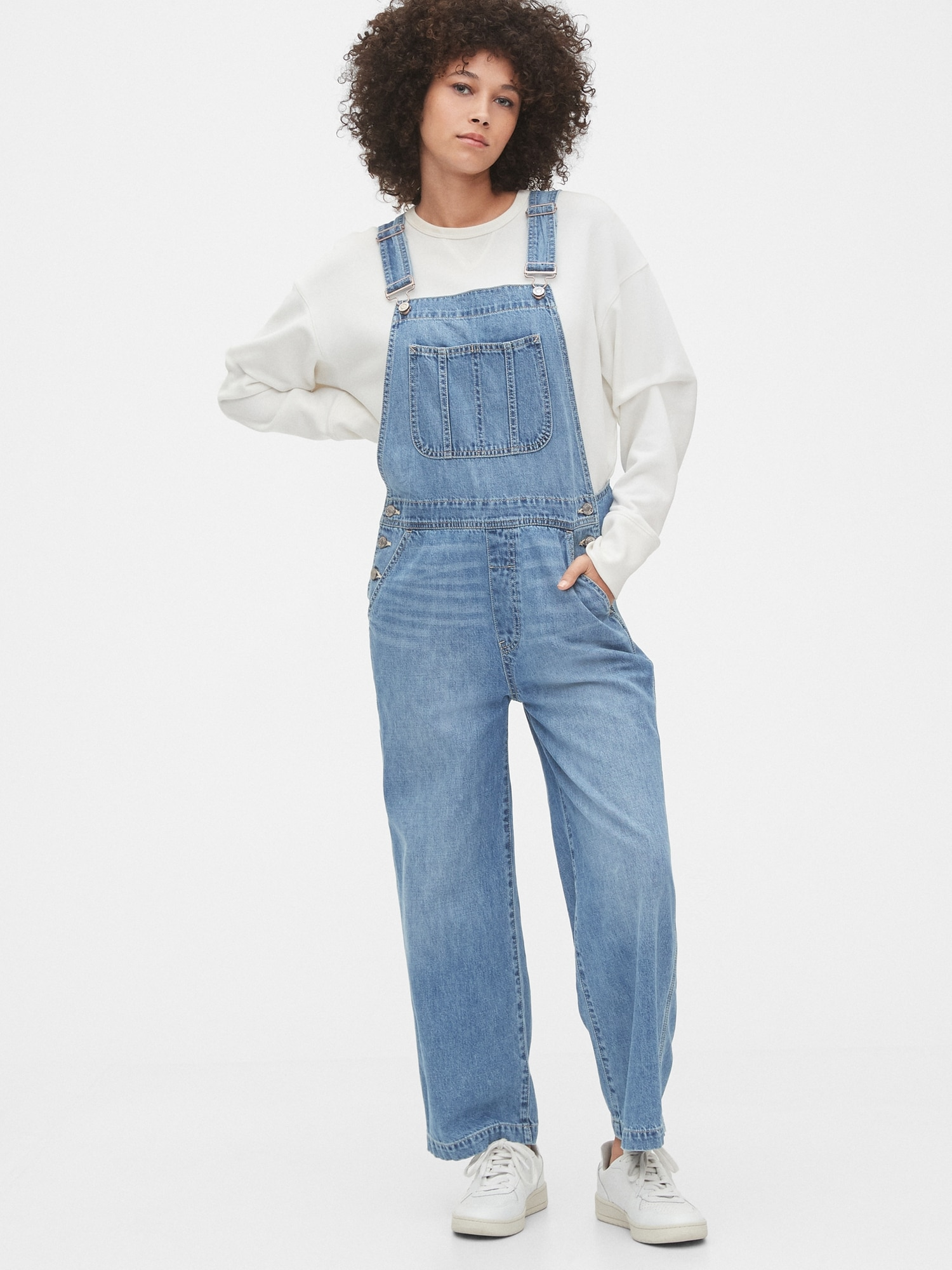 Wide-Leg Denim Overalls | Gap