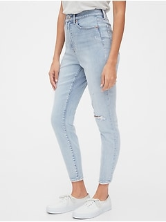 Sky High Destructed Curvy True Skinny Ankle Jeans with Secret Smoothing Pockets