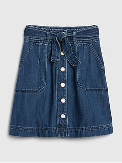 Kids Button-Front Denim Skirt