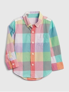 Toddler Plaid Poplin Long Sleeve Shirt