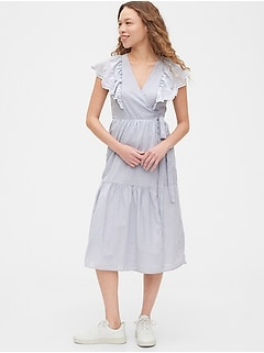 Flutter Sleeve Midi Wrap Dress