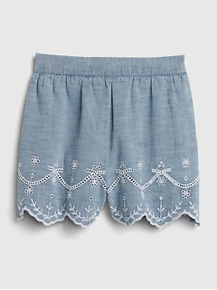 Toddler Scalloped Eyelet Pull-On Shorts