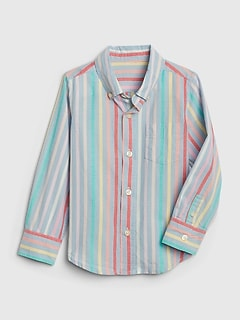 Toddler Poplin Stripe Convertible Shirt