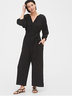 Tie-Belt Wide-Leg Gauze Jumpsuit