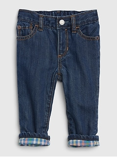 Baby Plaid-Lined Straight Jeans