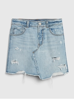 Kids Destructed Denim Skirt