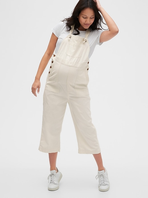 Maternity Cropped Overalls in TENCEL&#153 Lyocell