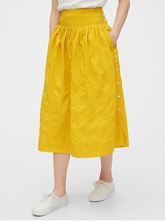 Embroided Midi Skirt in Poplin