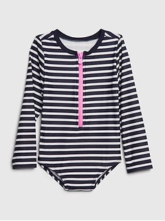 Toddler Stripe Rash Guard Swim One-Piece