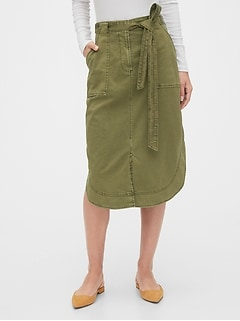 Khaki Shirttail Midi Skirt