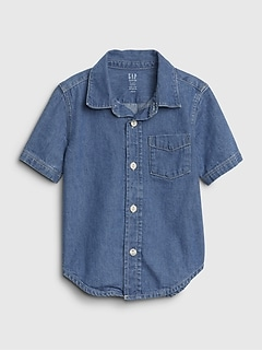 Toddler Short Sleeve Denim Shirt