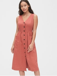 V-Neck Sleeveless Midi Dress