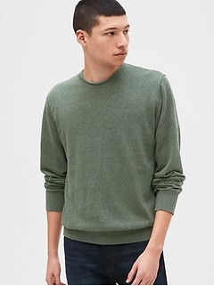Crewneck Sweater in Linen-Cotton