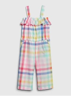 Toddler Plaid Ruffle Jumpsuit