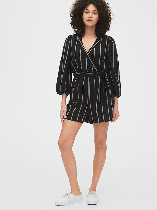 Gap Puff Sleeve V-Neck Women's Romper