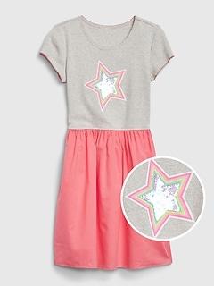 Kids Flippy Sequin Mix-Media Dress