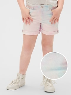 Kids Tie-Dye Denim Midi Shorts