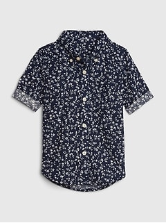 Toddler Floral Button Down Short Sleeve Shirt.