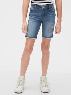 Kids Destructed Denim Bermuda Shorts with Stretch