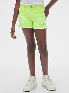 Kids Destructed Denim Shortie Shorts