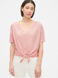Slub Tie-Front T-Shirt