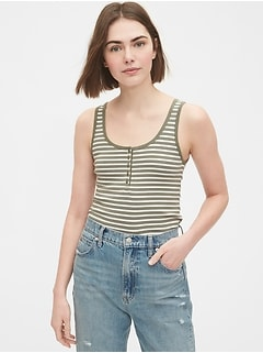 Modern Henley Striped Tank Top