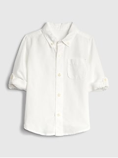 Toddler Long Sleeve Linen-Cotton Shirt