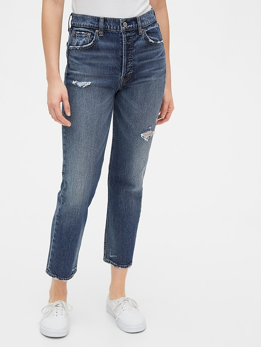 Gap High Destructed Rise Cheeky Straight Jeans