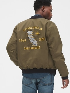 1969 Premium Gap 50th Embroidered Reversible Bomber Jacket