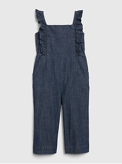 Toddler Chambray Ruffle Jumpsuit