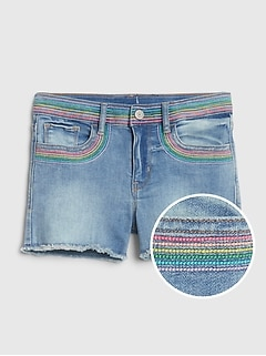 Kids Embroidered Patch High Rise Denim Shorts