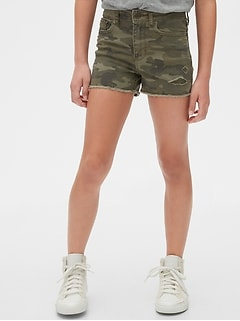 Kids High-Rise Camo Shortie Shorts