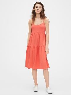 Tiered Cami Midi Dress in Modal-Cotton