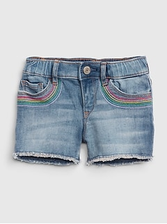Toddler Rainbow Embroidered Shorty Shorts